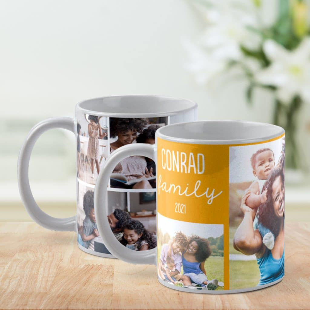 An image of two photo collage mugs sitting on a countertop