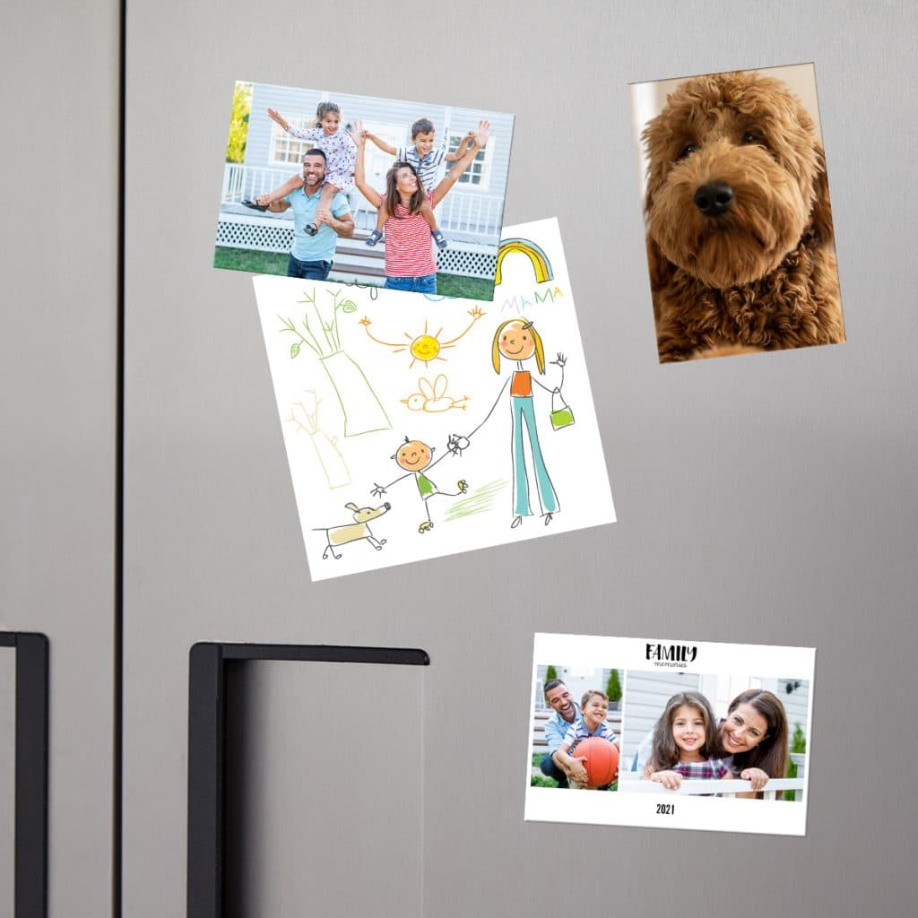 Image showcasing a stainless steel fridge covered in notes and refrigerator magnets