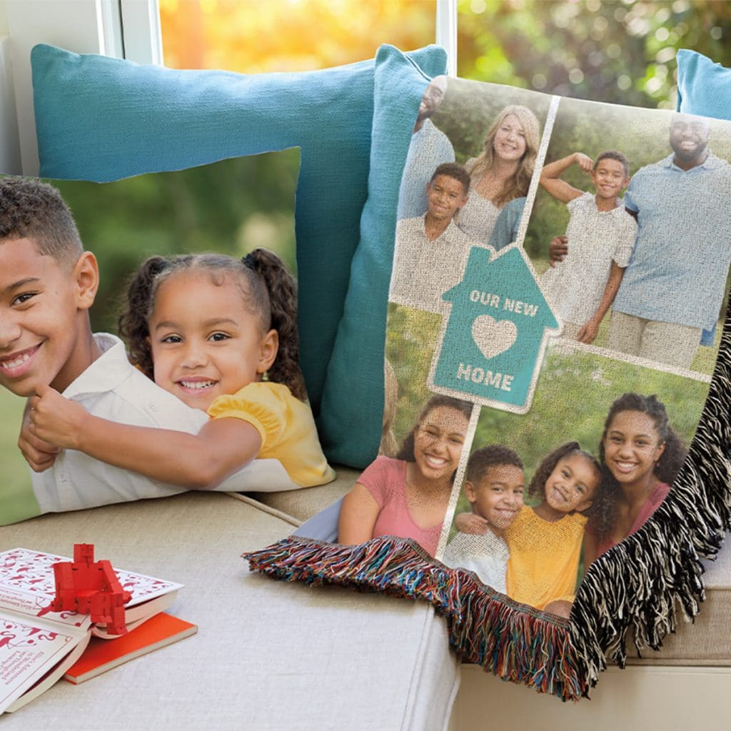 Image showing photo pillow and woven photo blanket laying on a couch