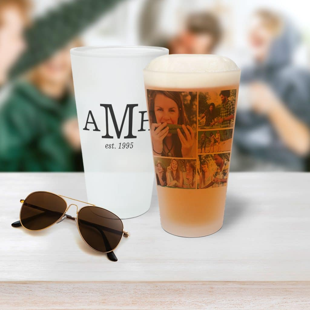 Image featuring two frosted pint glasses sitting on a table with a pair of aviator-style sunglasses